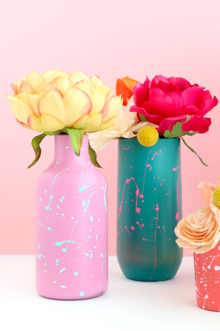 Diy Color Blocked Splatter Painted Flower Vases Flower Vase Diy