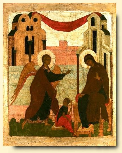 The Annunciation - exhibited at the Temple Gallery, specialists in Russian icons 79 x 63.5 coll été 2007