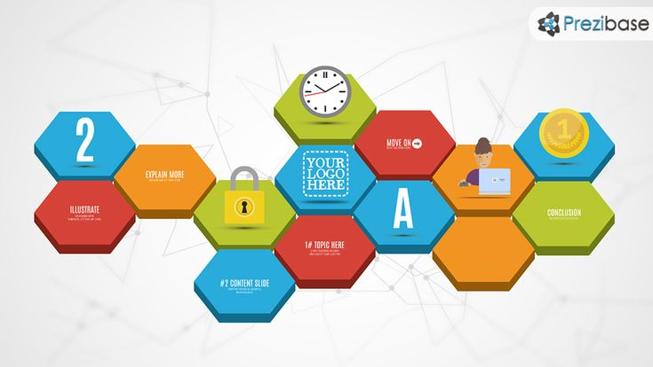 Creative 3D hexagon design diagram presentation prezi template