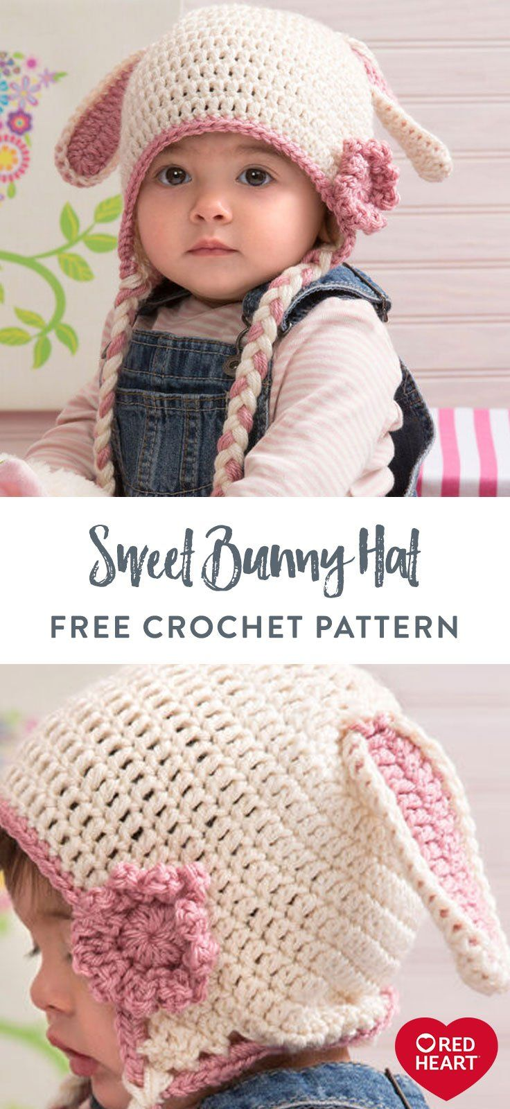 Sweet Bunny Hat Free Crochet Pattern In Red Heart Soft Your Huggable Cutie Deserves A Few Extra Phot In 2020 Crochet Baby Hats Crochet Baby Patterns Knitted Hats Kids