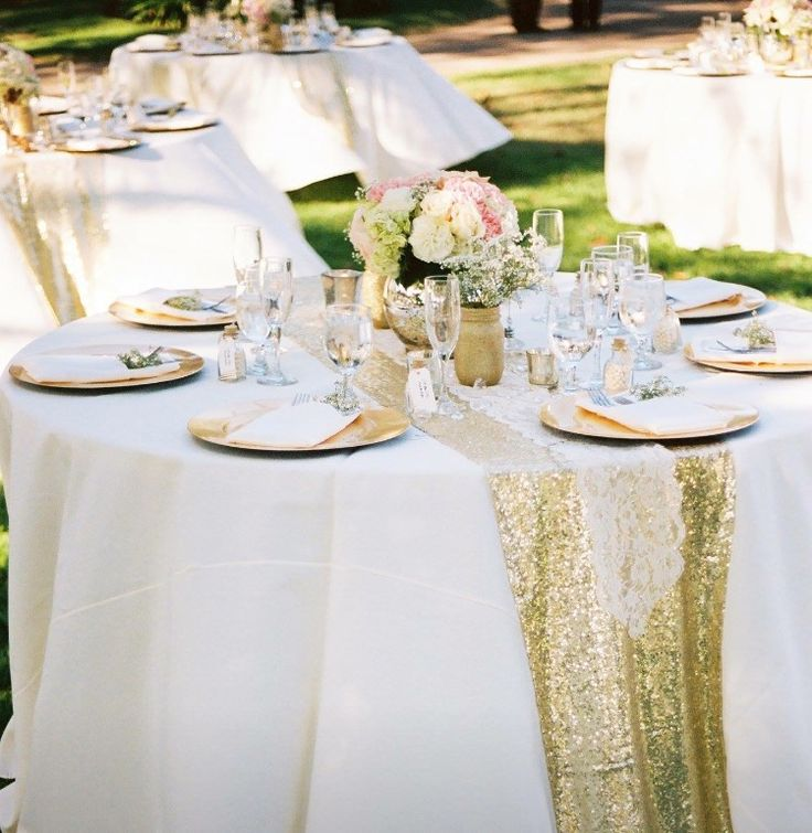 Sequin Runner Silver And Lace Overlay With Tablescape In