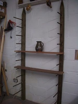 Pottery studio shelving idea