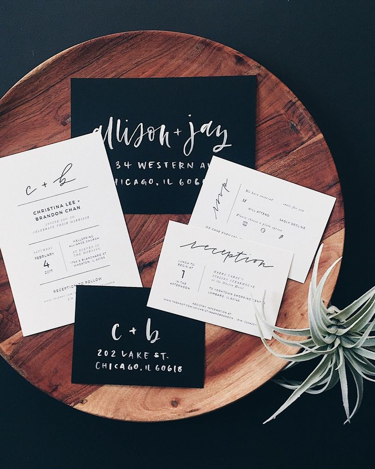 Minimalist Black And White Hand Lettered Wedding Invitations