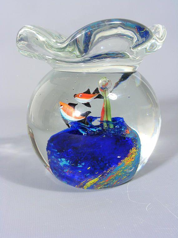 Vintage Murano Glass Aquarium Murano Glass Murano Fish Aquarium Glass Fish Bowl Vintage Glass Art Glass Fish Vintage Art Glass Murano Glass Aquarium Vintage Art Glass Glass Fish Bowl