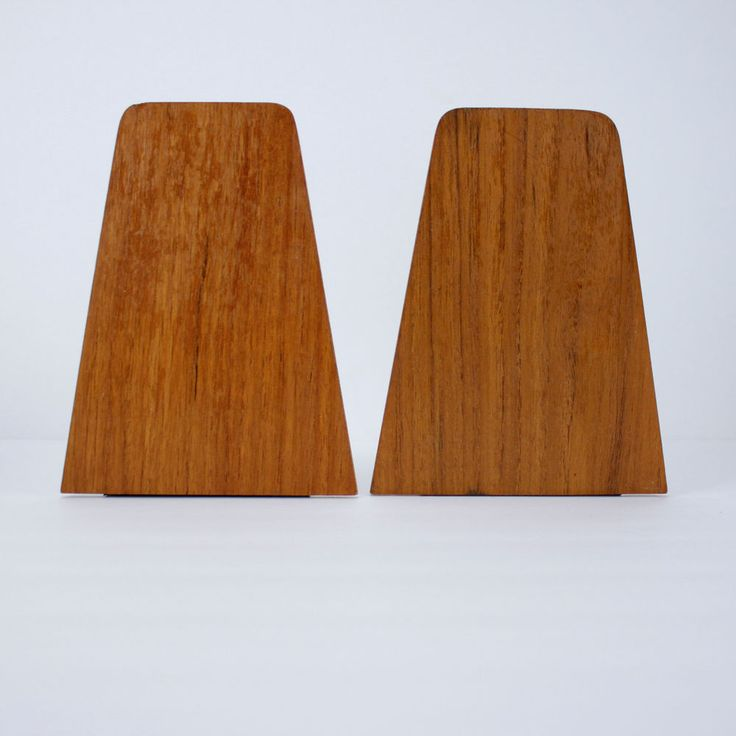 Mid Century Modern Teak Bookends Vintage Asian Wood Minimalist #teak #midcentury #bookends