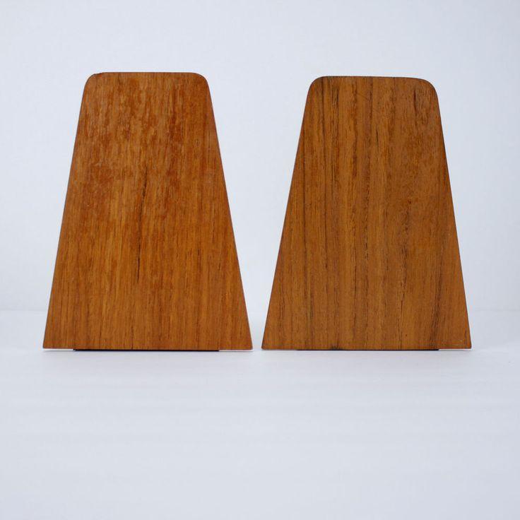 Mid Century Modern Teak Bookends Vintage Asian Wood Minimalist #teak #midcentury #bookends