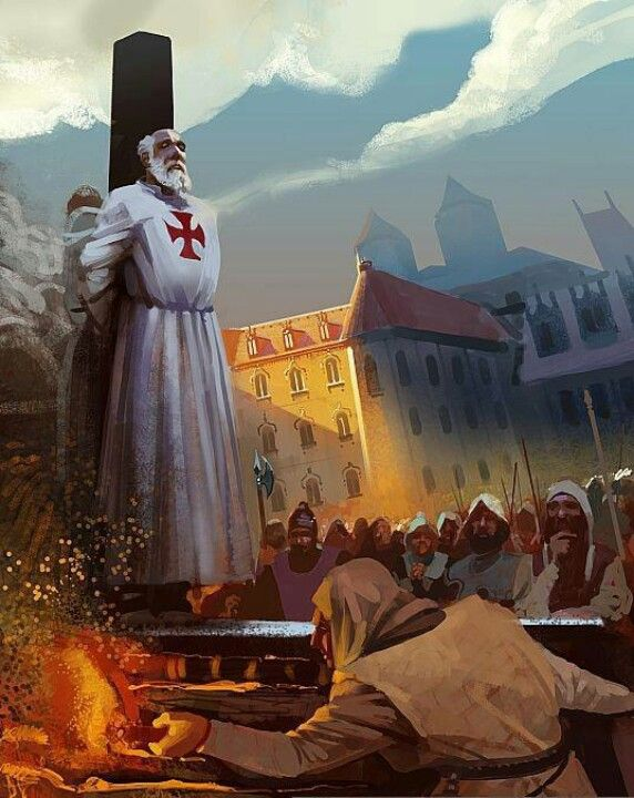 Knights Templar: The execution of Jacques de Molay, the last Grand Master of the Knights Templar.