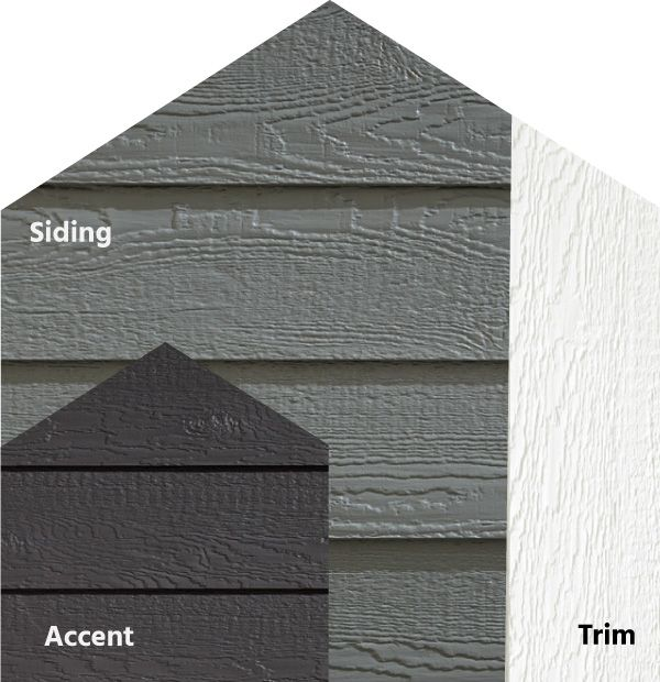 Diamond Kote Rigidstack Lap Siding And Trim Impact Smoky Ash Siding Graphite Accent White T Lp Smart Siding Exterior Siding Colors Diamond Kote Siding