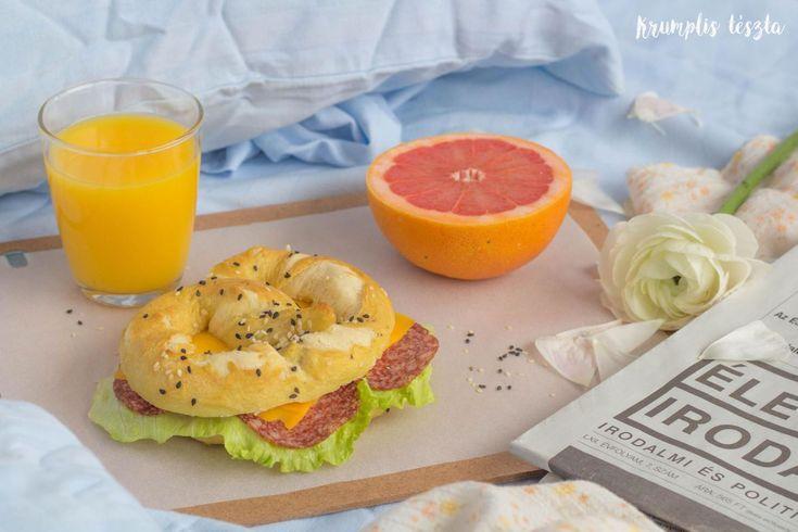 Pretzel sandwich for breakfast