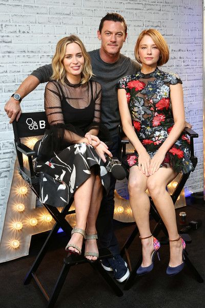 (L-R) Actors Emily Blunt, Luke Evans and Hayley Bennett pose for a photo as they take part in AOL's BUILD series LONDON at AOL London on September 21, 2016 in London, England.