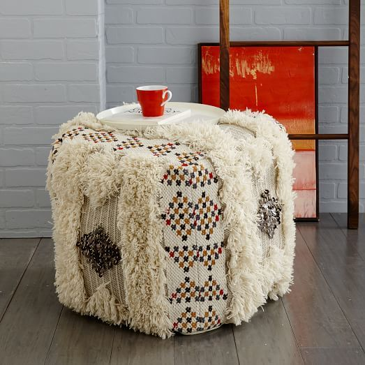 ... The Sequin Shag Pouf Was Made By Skilled Indian Artisans Whose Weaving  Technique Has Been Certified By The Non Profit Organization Craftmark.