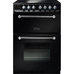 Rangemaster 10726 Kitchener 60cm Electric Cooker With Ceramic Hob Black And Chrome | Appliances Direct
