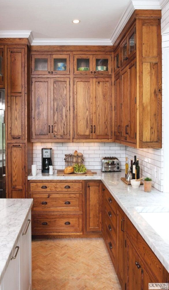 Quartz Countertops With Honey Oak Cabinets Image Result For Oak Cabinets And White Quartz Count Rustic Kitchen Cabinets Rustic Farmhouse Kitchen Rustic Kitchen
