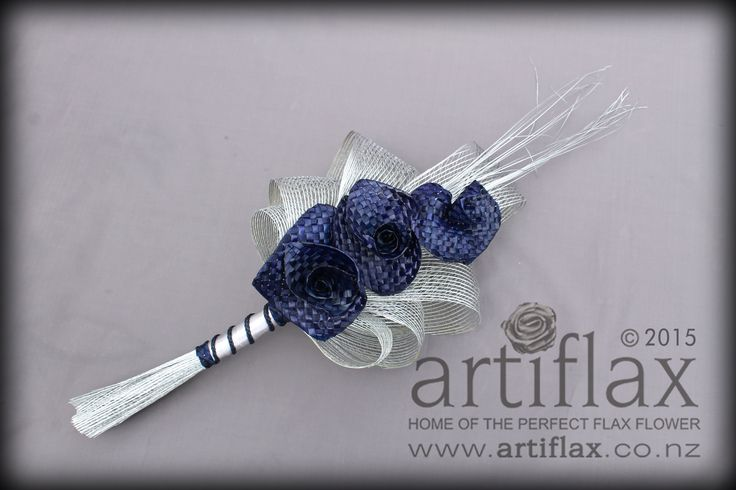3 navy blue flax woven lilies with authentic silver hapene flax foliage.  Bridal bouquet by Artiflax