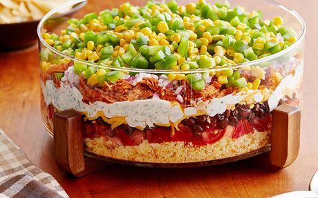 Eight-Layer Chicken Chilli Dip Recipe by Food Network Kitchens - would look amazing in my Pampered Chef Trifle Bowl!