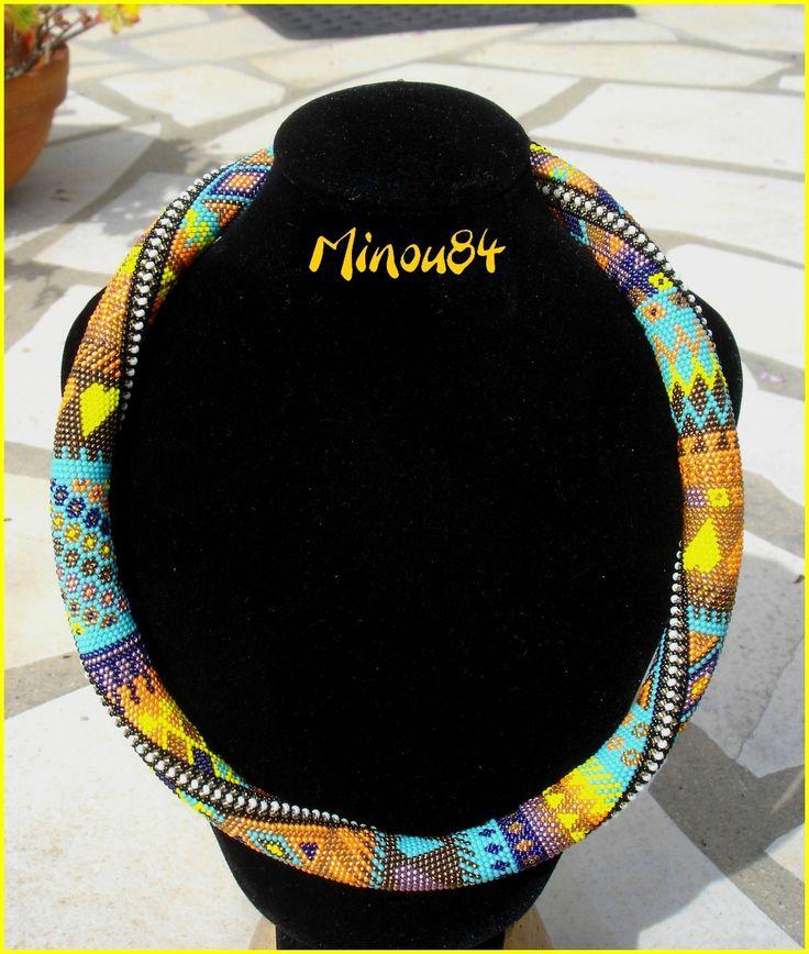 spirale crochet en mailles serrées en R15 sur 28 perles par tour