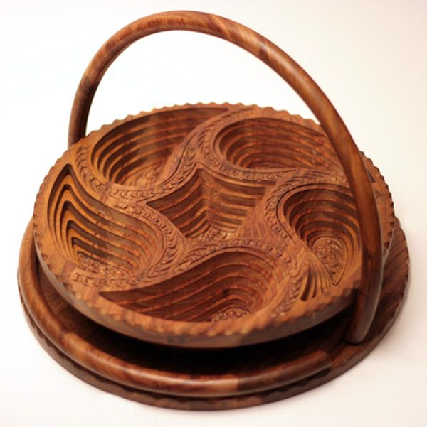 """14"""" Collapsible Basket/Trivet with 5 paisleys, from Wood Signature"""