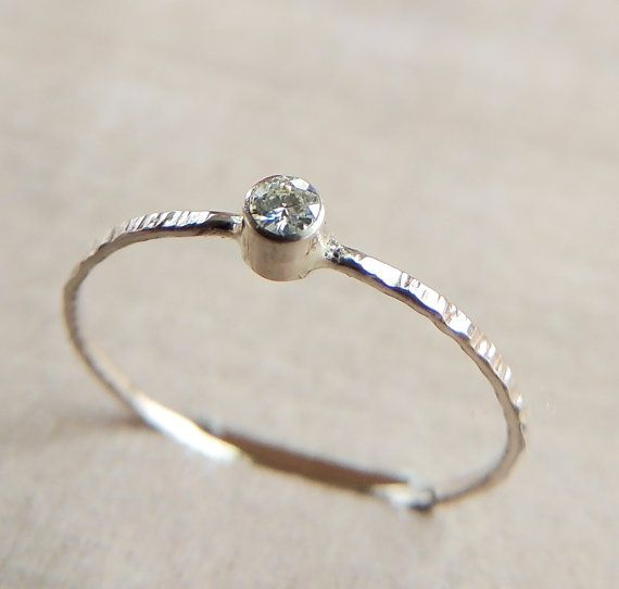 White Gold Moissanite Ring Solid Gold Ring 14k Gold by Luxuring