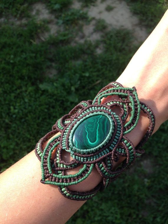 Malachite Macrame Bracelet Handmade Creation with by ARTofCecilia, $80.00