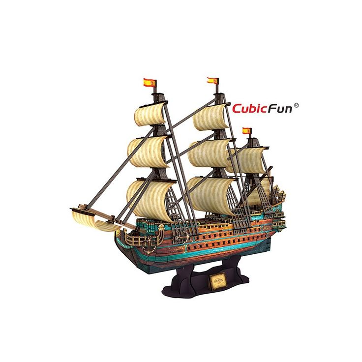 The Cubic Fun Spanish Armada was a Spanish fleet of 130 ships that sailed from A Coruña in August 1588, under the command of the Duke of Medina Sidonia with the purpose of escorting an army from Flanders to invade England. This detailed replica is the perfect collectors item.