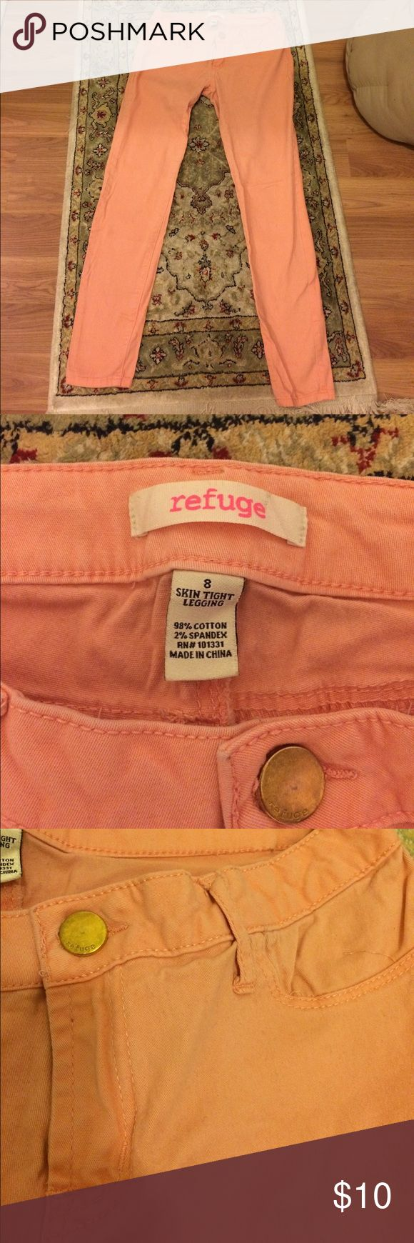 Refuge pants These salmon colored/pink pants are so cute! You'll just love them! They don't have front pockets except the little one shown in a pic above. Has 2 back pockets. From waist to bottom these are 34 inches long. From waistline is 1ft 3in long. refuge Pants Ankle & Cropped