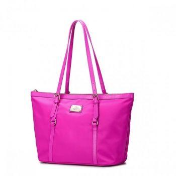 Duża nylonowa torebka damska Różowa - Nucelle