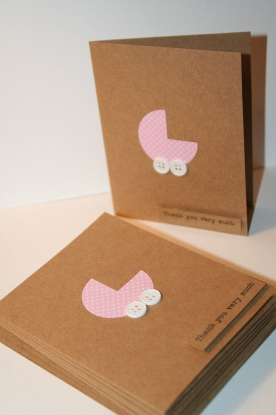 Baby Shower Thank You Card Set Pink with Tiny Polka by Glued2Paper