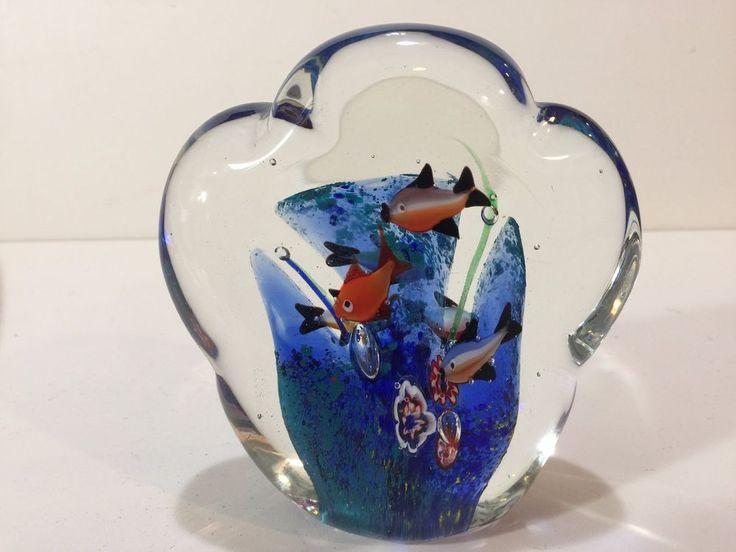 "Murano Art Glass Cloud Fish Aquarium, 5 1/2"" Tall x 5"" Widest, 3.6 Lbs Weight #Murano"