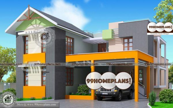 2 Storey House With Floor Plan Best Flat Roof Contemporary Home Idea House Plans Model House Plan Low Cost House Plans