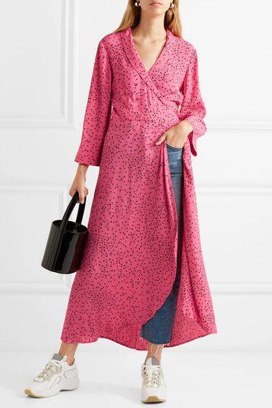 c8669e3fb8 GANNI - Barra printed crepe de chine wrap maxi dress in 2019