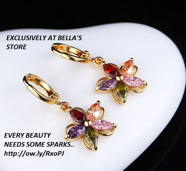 Gold Plated Colorful Zircon Crystal Flower Earrings inspired by Swarovski FREE shipping worldwide only 6.89 usd order by click on picture.