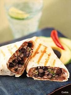 Healthy Recipes - Toasted black bean and cheese stuffed tortilla
