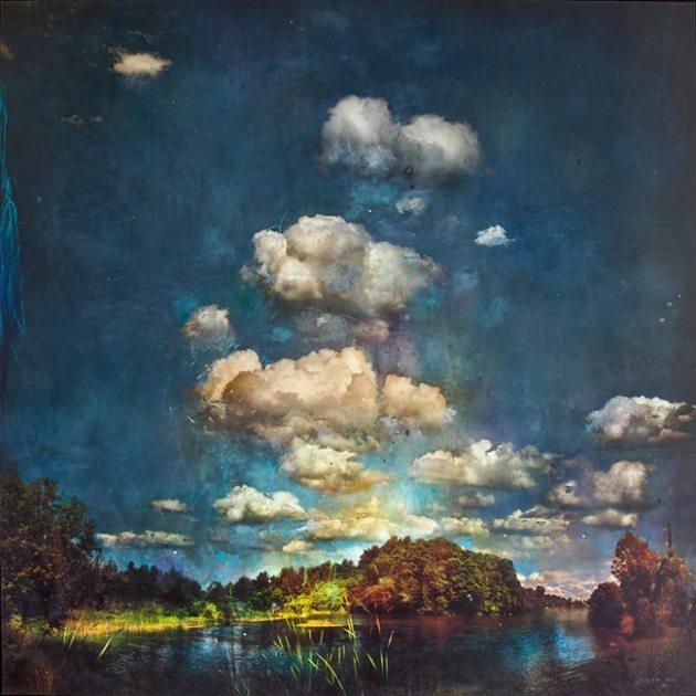 Witness – Photography, oil, ink, pastel on panel – 52″ x 52    Stev'nn Hall