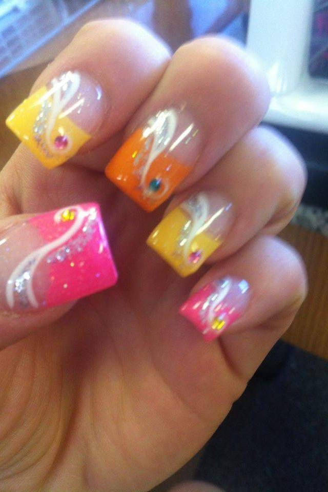 yellow purple nail art