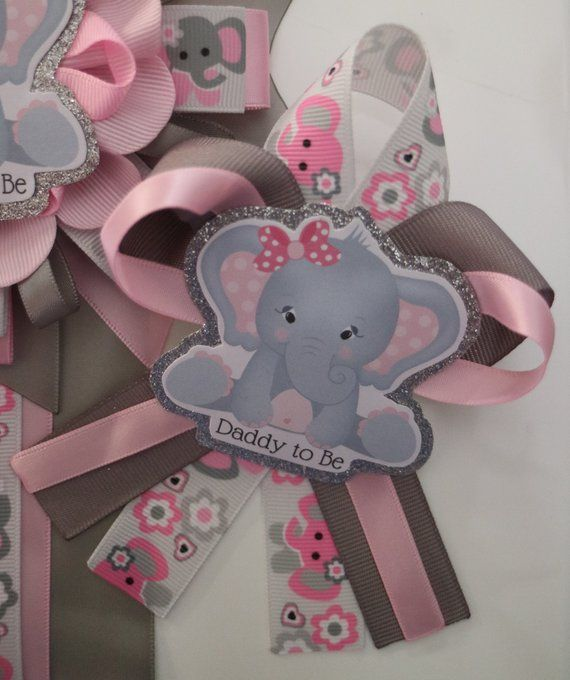 Pink Gray Baby Girl Elephant Baby Shower Corsage Baby Shower