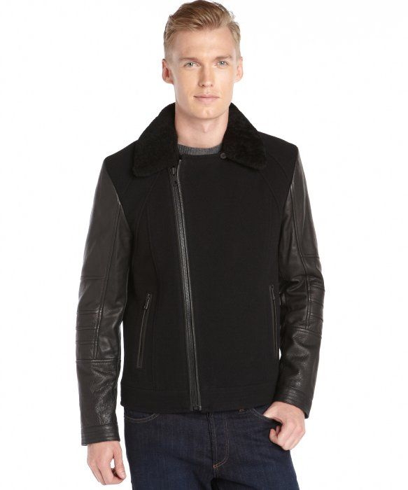 Andrew Marc black 'Gaze' wool and leather sleeve jacket