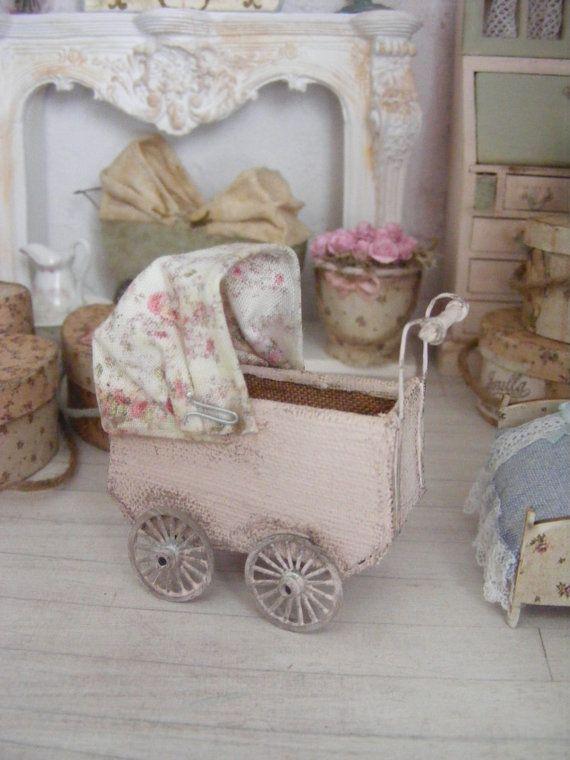Miniature child's dolly pram shabby chic by shabbychicminis