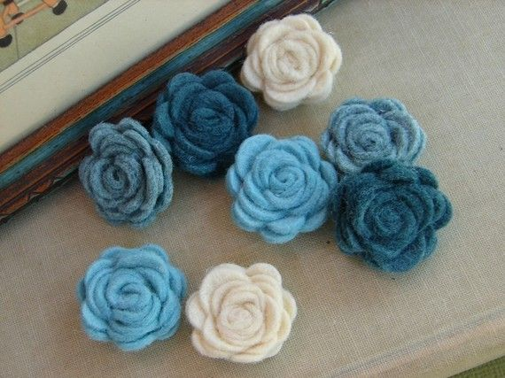 Wool Felt Aqua Blue Posies: Rose, Flowers Minis, Fabric Flowers, Amy Flowers, Circles Flowers, Faux Flowers, Flowers Addiction, Fabrics Flowers, Felt Flowers