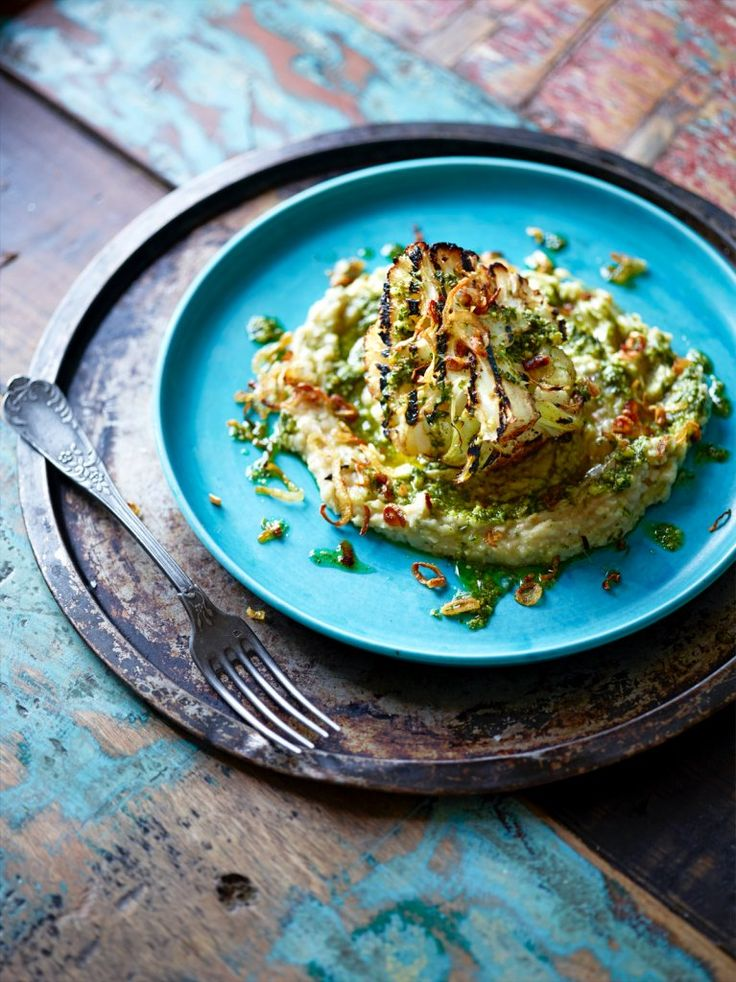 Grilled cauliflower with winter pesto