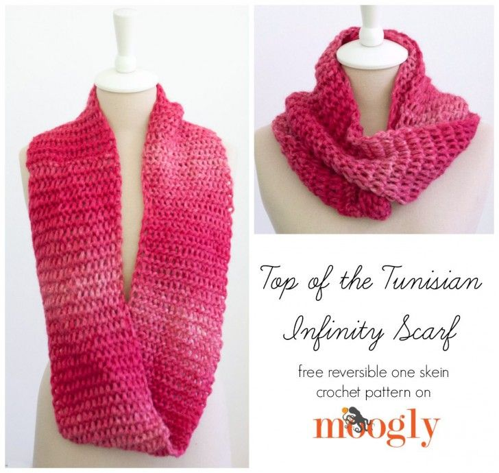 Top of the Tunisian Infinity Scarf - free crochet pattern on Mooglyblog.com!