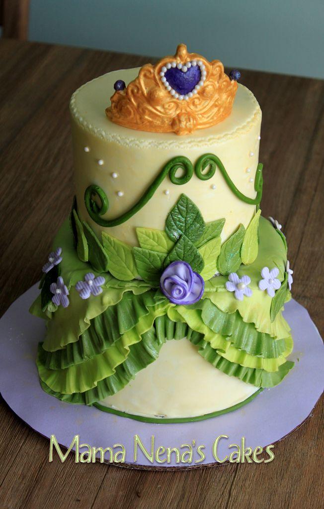 Princess Tiana from Princess and the Frog - Princess Tiana dress cake, matching the colors of decoration. Green, violet, yellow, tiara
