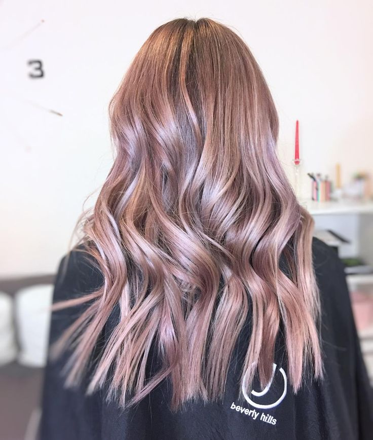 Metallic hair color with straight ends wavy hairstyle