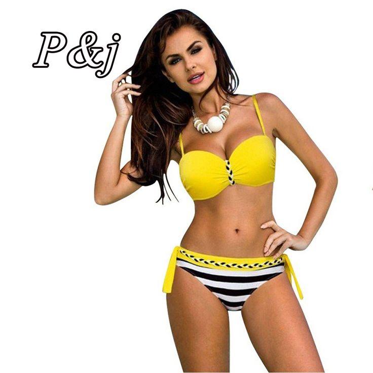 P&j 2017  Women Two-Piece Beachwear Three Colour Striped Bodysuit Split Female Swimwear Bathing suit