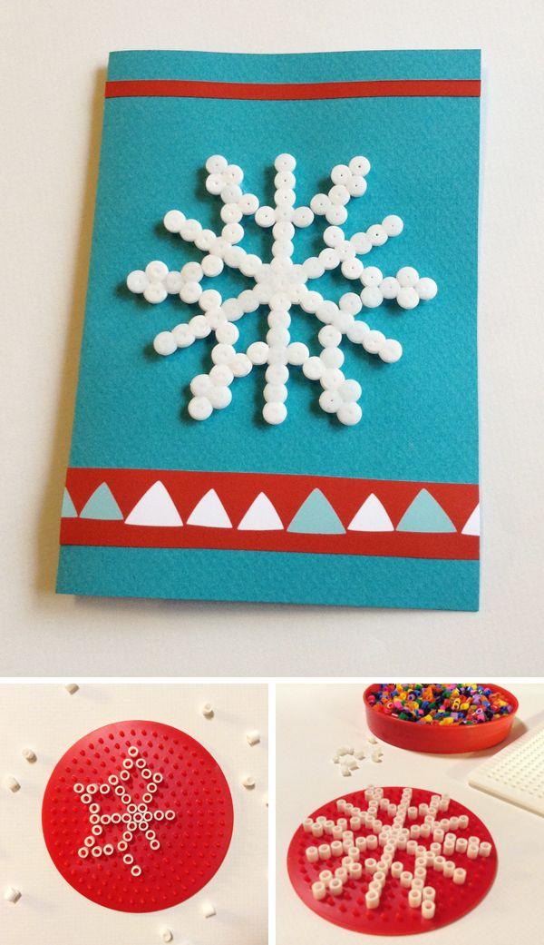 Hamahelmikortti. lasten   askartelu   joulu   joulukortit   käsityöt   koti   DIY ideas   kid crafts   christmas   home   cards   Pikku Kakkonen