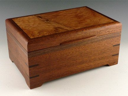 """Sapelle Jewelry Box with Burl Lid & Walnut Accents. 6""""x9 ..."""
