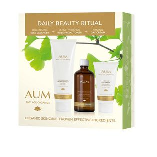 AUM Daily Beauty Ritual Pack - $49.95. Achieve brighter, firmer, smoother looking skin with this three step daily beauty ritual.   The perfect introduction to Aum, this daily routine of cleansing, toning and moisturising helps to keep your skin clean, hydrated, healthy and glowing.