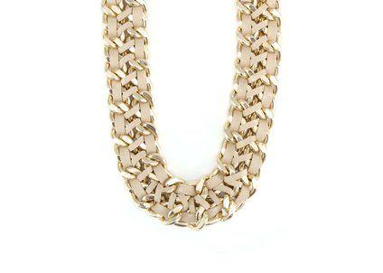 Krémovo-zlatý masivní náhrdelník OJJU Pelle