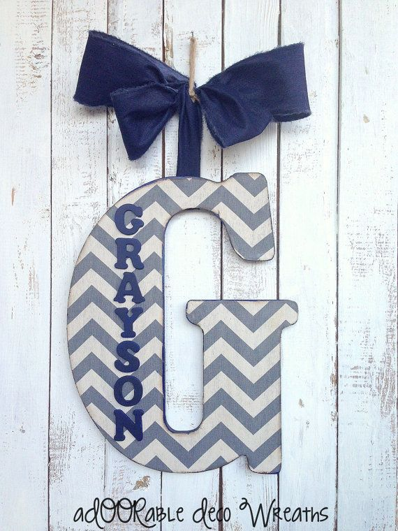 Large Initial/Name Door Hanger 18 by aDOORableDecoWreaths on Etsy