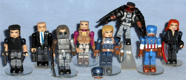 MiniMates - Captain America, The Winter Soldier Brock Rumlow, Agent Sitwell, Winter Soldier, Batroc, Stealth Uniform Captain America, Falcon, Classic Captain America, and Black Widow