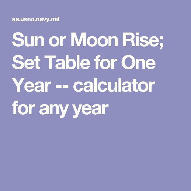 Sun or Moon Rise;  Set Table for One Year -- calculator for any year